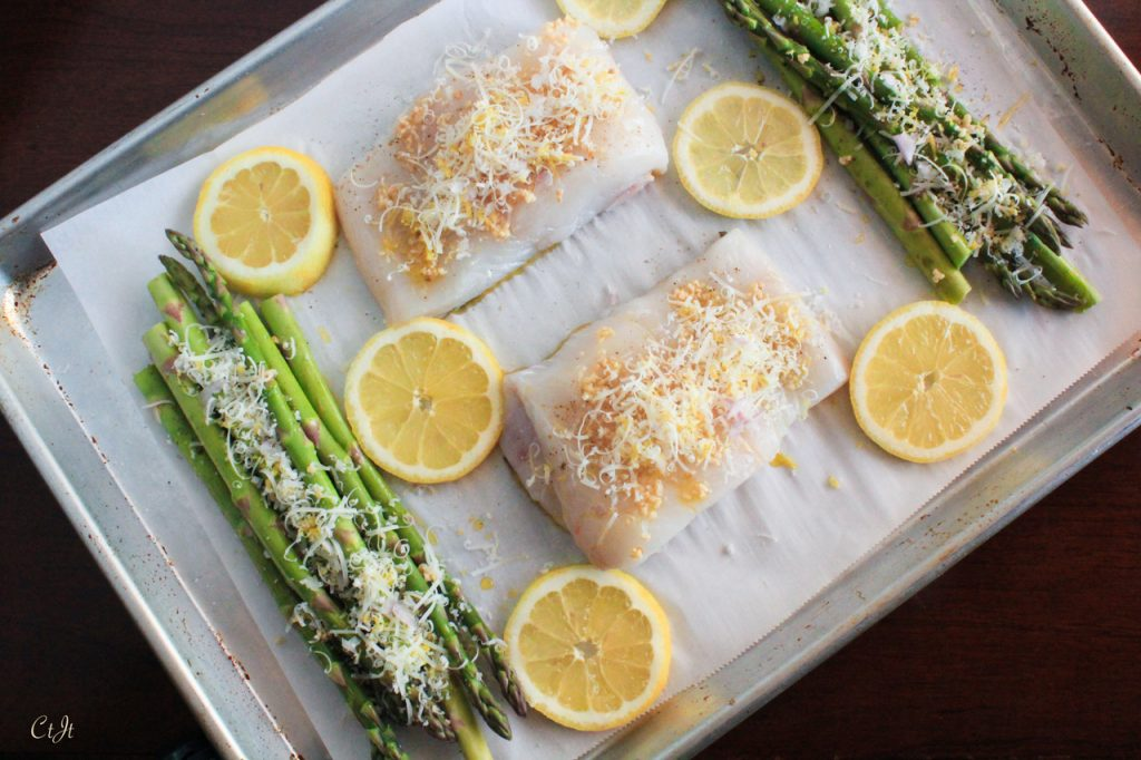 Sheet Pan Dinner: Lemon-Garlic Roasted Wild Halibut and Local Asparagus featuring Sigona's Meyer Lemon Fusion Olive Oil