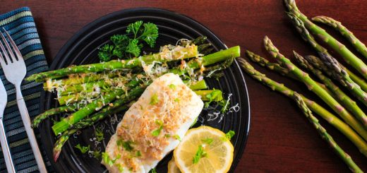 One Pan Dinner: Lemon-Garlic Roasted Wild Halibut and Local Asparagus featuring Sigona's Meyer Lemon Fusion Olive Oil