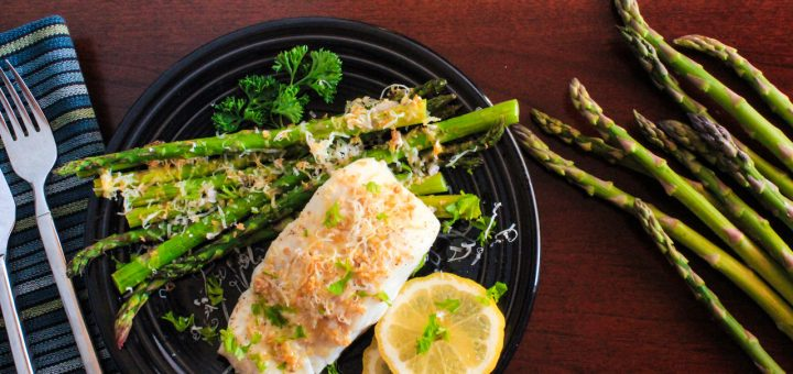 One Pan Dinner: Lemon-Garlic Roasted Wild Halibut and Local Asparagus featuring Sigona's Meyer Lemon Fusion Olive Oil