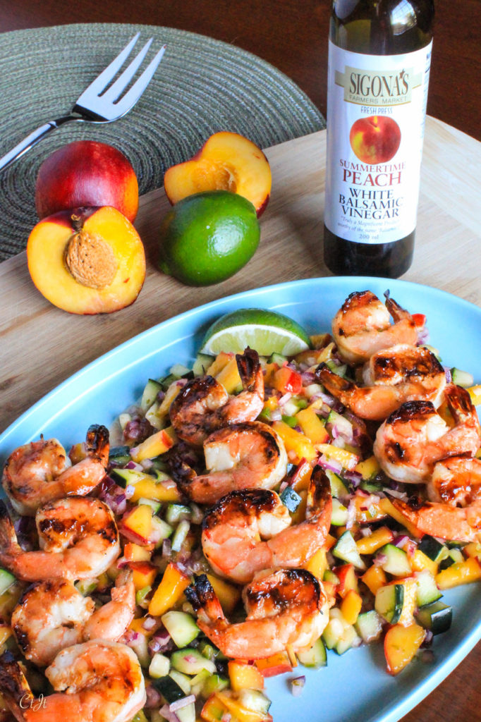 Summertime Peach & Garlic Grilled Shrimp with Nectarine, Cucumber & Lime Chop Salad featuring Sigona's Summertime Peach White Balsamic and Sigona's Garlic Oil.