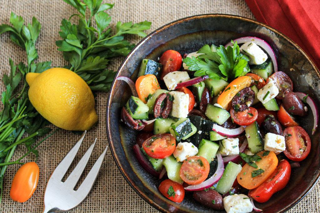 Greek Salad with a Kalamata Olive Oil & Oregano Balsamic Vinaigrette