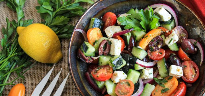 Greek salad with oregano vinaigrette