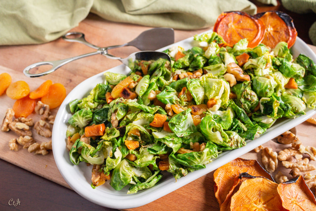Sautéed Brussels Sprout Leaves with Persimmons, Heirloom Apricots and Walnuts
