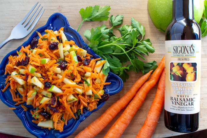 Carrot Salad featuring Sigona's Satsuma Vanilla Cream White Balsamic. Pairs well with pan-seared pork.