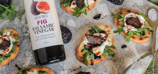 Tuscan Herb Toasts with Chèvre, Arugula and a Fig Balsamic Reduction