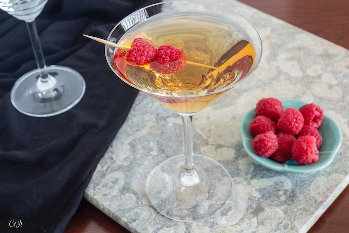 wild raspberry white balsamic martini featuring Sigona's Wild Raspberry White Balsamic