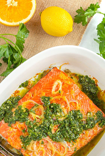 Roast Salmon with a Citrusy Salsa Verde featuring Sigona's Meyer Lemon Fusion Olive Oil and Sigona's Sicilian Lemon Balsamic
