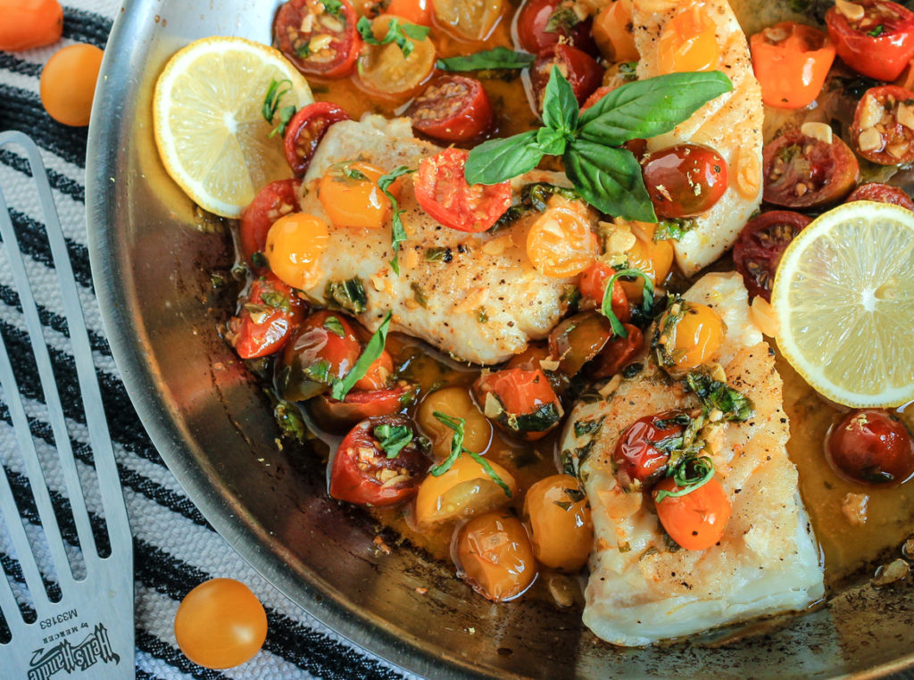 Harissa-Seared Halibut with an Heirloom Tomato, Basil & Wine Sauce featuring Sigona's Red Chili Harissa Olive Oil