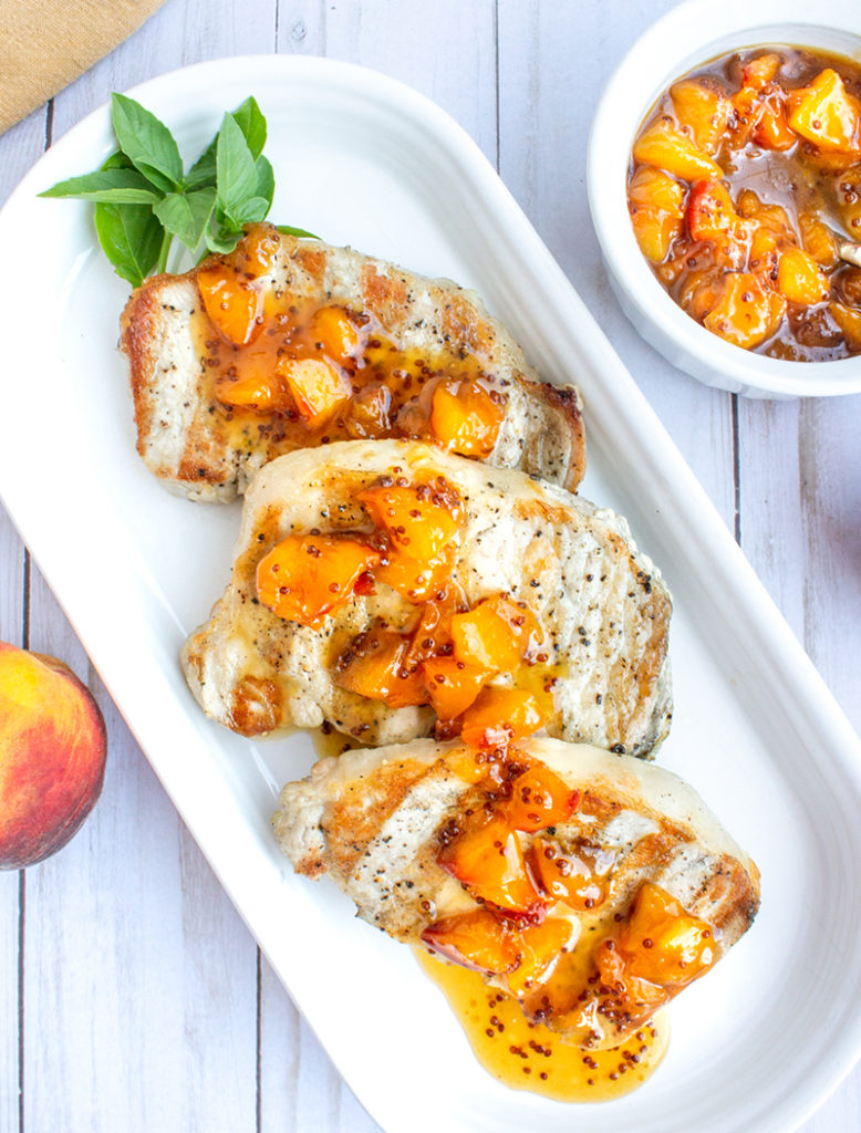 Grilled, Basil-Rubbed Pork Chops with Fresh Peach Mostarda