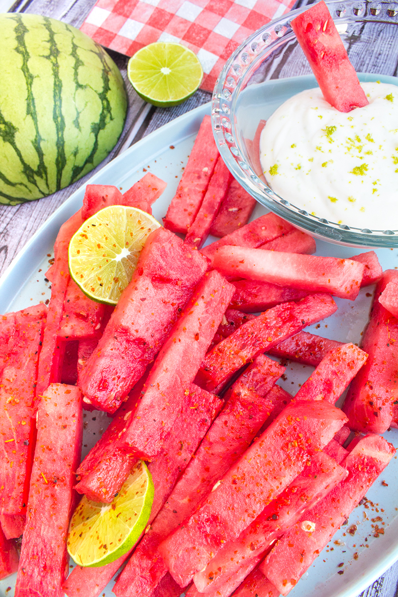 Watermelon Fries With Chili Lime Seasoning And A Creamy Lime Dip Sigona S Farmers Market
