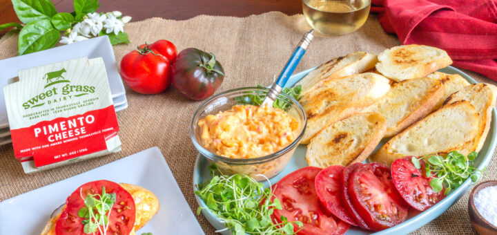 Crostini Topped with Heirloom Tomatoes & Sweet Grass Dairy Pimento Cheese