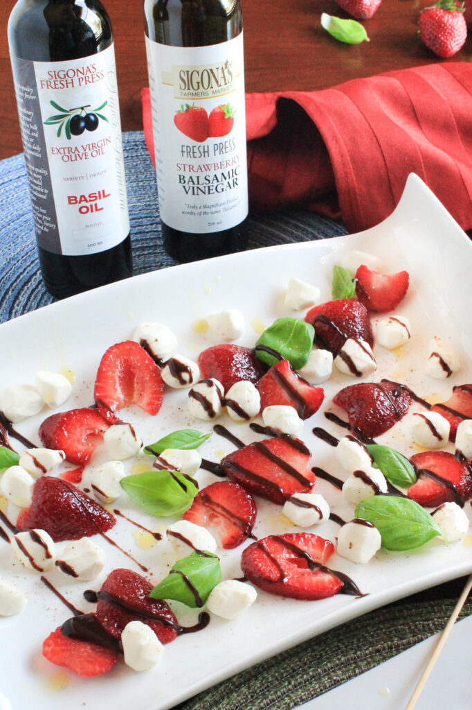 Springtime Insalata Caprese with Basil Oil and a Strawberry Balsamic Reduction