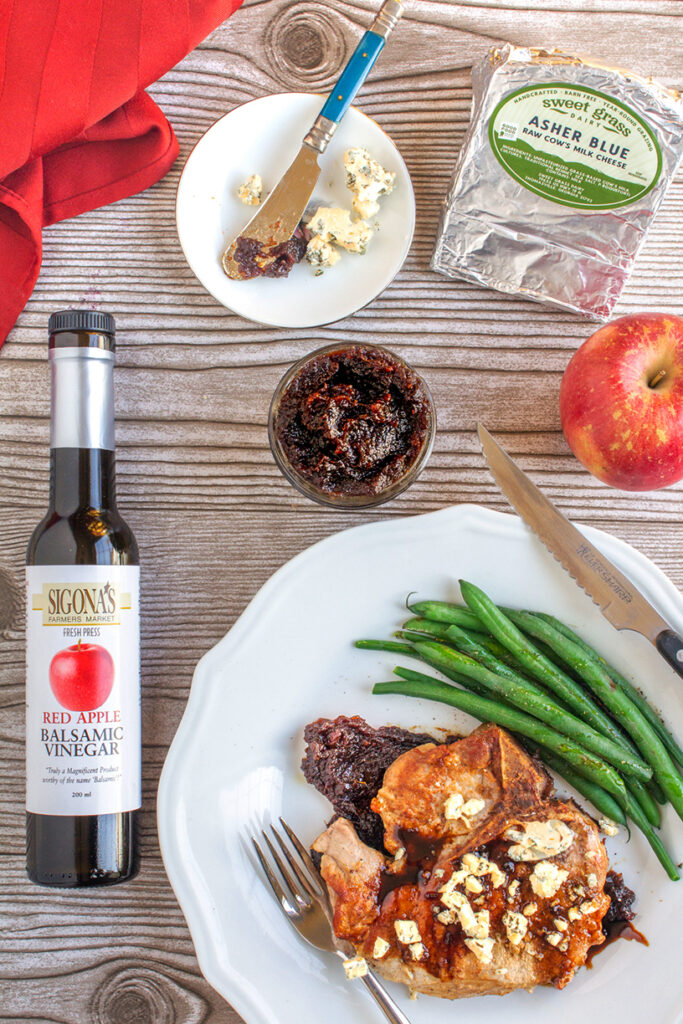Pan-Seared Pork Chops with Balsamic Apple Butter and Asher Blue Cheese