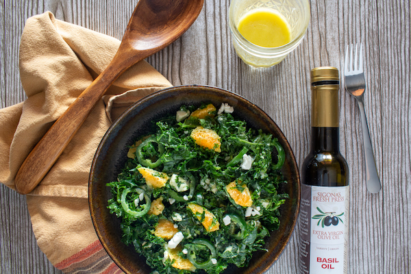 Kale & Citrus Salad with Goat Cheese and a Creamy Basil Dressing