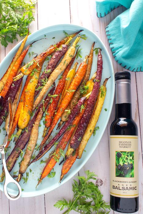 Blackberry-Ginger Balsamic & Garlic Roasted Rainbow Carrots