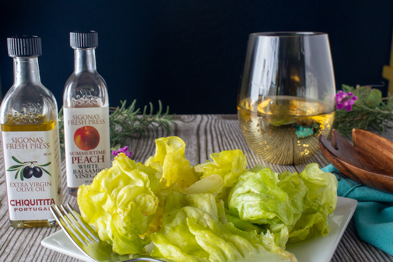 Butter Lettuce Hearts tossed with Chiquitita Olive Oil and Summertime Peach White Balsamic