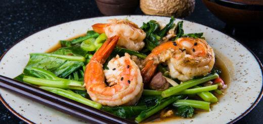 Gai Lan with Sautéed Shrimp