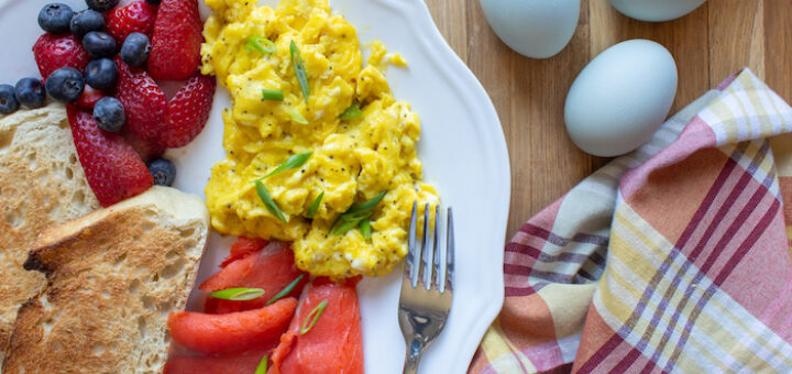 Soft Scrambled Eggs with Toasted Bread and Smoked Salmon