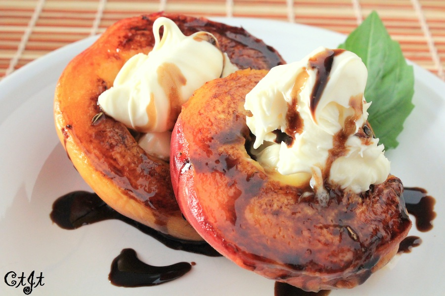 Pan-Seared Peaches Topped with Mascarpone and a Lavender-herbed Balsamic Reduction