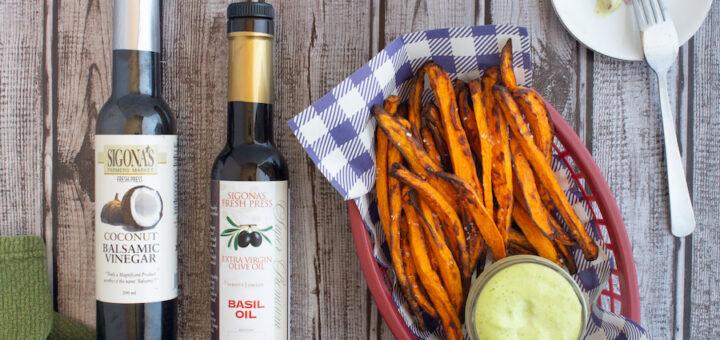 Air Fryer Caribbean-Seasoned Sweet Potato Fries with Basil Aioli