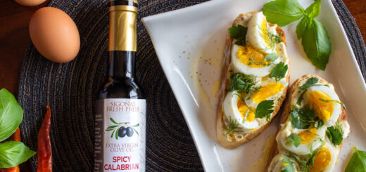 Fresh Herb and Egg Salad on Toast with Sigona's Calabrian Pepper Pesto Olive Oil