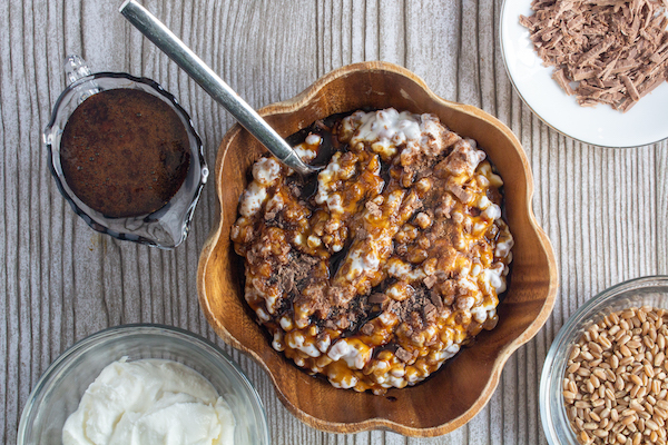 Cuccia – Sicilian Wheat Berry & Ricotta Pudding with a Elderberry Balsamic Reduction