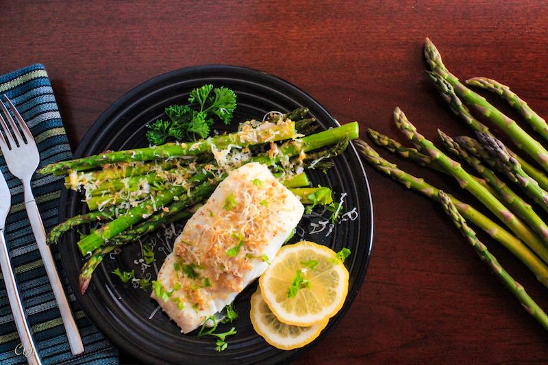 Sheet Pan Dinner: Lemon-Garlic Roasted Wild Halibut and Local Asparagus